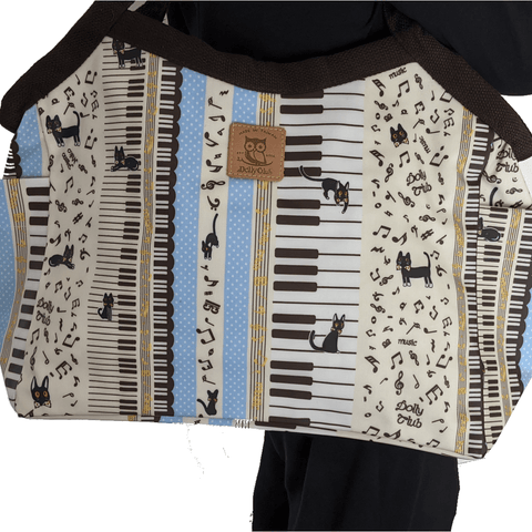 Image of Music Bumblebees Music Bag Large Classic Shoulder Bag (Water Resistant) (Blue Stripe on White Pattern) - Kittens & Keys Series