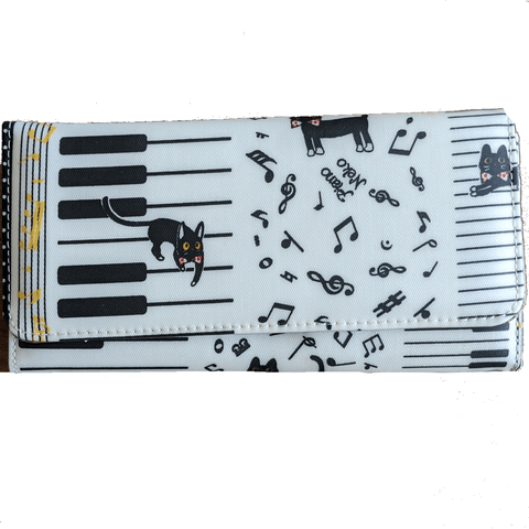 Music Bumblebees Music Bag Light Brown Music Themed Water-resistant Long Wallet - Kittens & Keys Series