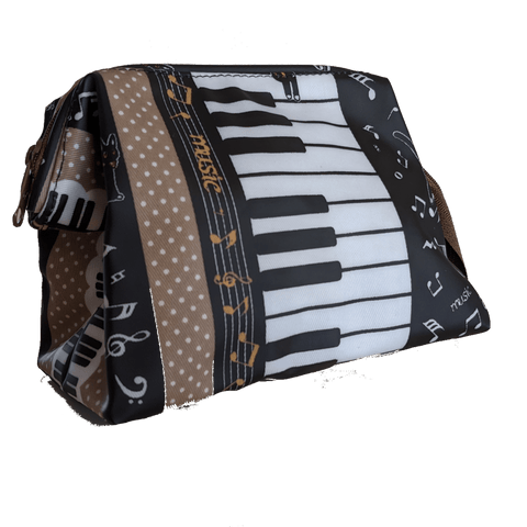 Image of Music Bumblebees Music Bag Light Brown Music Themed Water-resistant Portable Cosmetic Bag - Kittens & Keys Series