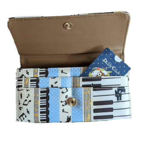 Music Bumblebees Music Bag Music Themed Water-resistant Long Wallet - Kittens & Keys Series