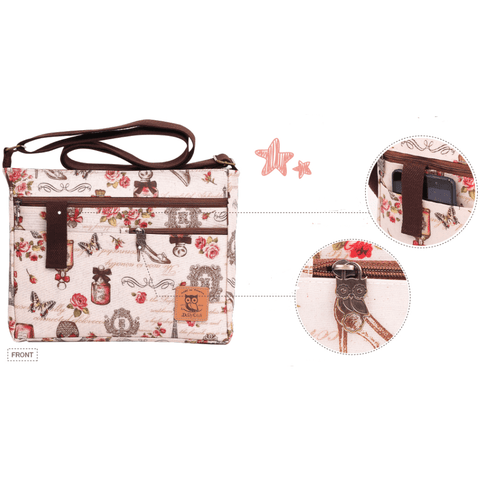 Image of Music Bumblebees Music Bag Music Themed Water-resistant Music Themed Water-resistant Multi-Pocket Shoulder Bag - Kittens & Keys Series