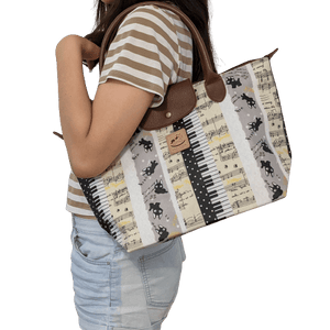 Music Bumblebees Music Bag Uma Hana Music Themed Water Resistant Large Shoulder Bag - Kittens and Keys