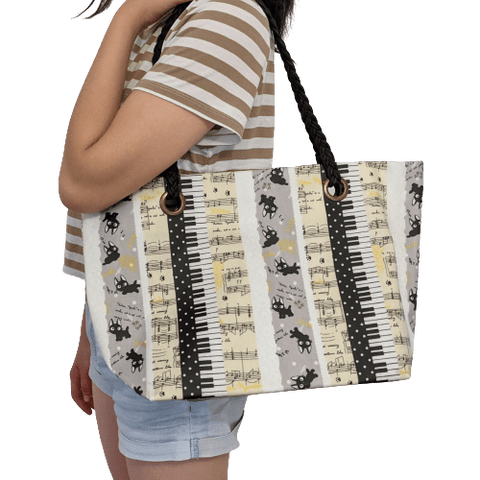 Image of Music Bumblebees Music Bag Uma Hana Music Themed Water Resistant Large Shoulder Bag with Black Strap - Kittens and Keys