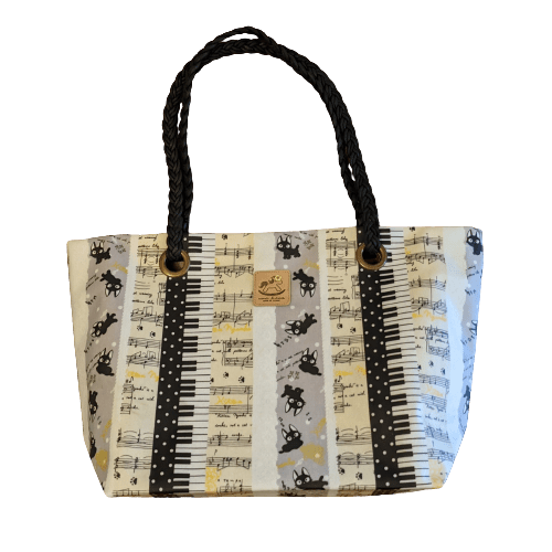 Music Bumblebees Music Bag Uma Hana Music Themed Water Resistant Large Shoulder Bag with Black Strap - Kittens and Keys