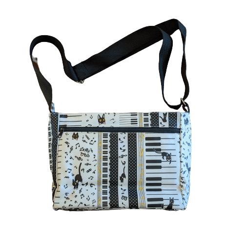 Music Bumblebees Music Bag White Music Themed Water-resistant Music Themed Water-resistant Multi-Pocket Shoulder Bag - Kittens & Keys Series