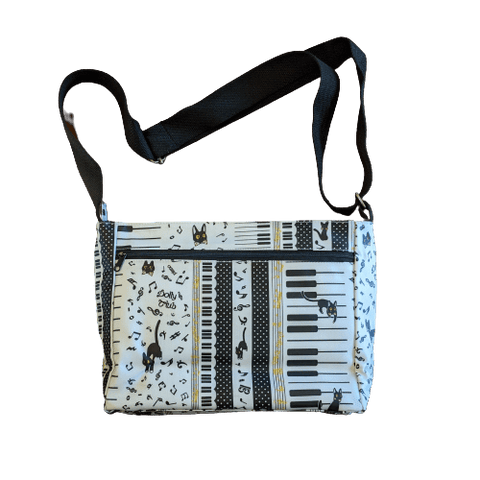 Image of Music Bumblebees Music Bag White Music Themed Water-resistant Music Themed Water-resistant Multi-Pocket Shoulder Bag - Kittens & Keys Series