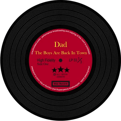 Music Bumblebees Music Coasters Music Themed Record Coasters - All Time Favourite Dad (Set of 8)