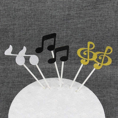 Image of Music Bumblebees Music Gifts,For Teachers Silver Music Notes Sticks for Cakes Cupcake Decorations - pack of 6