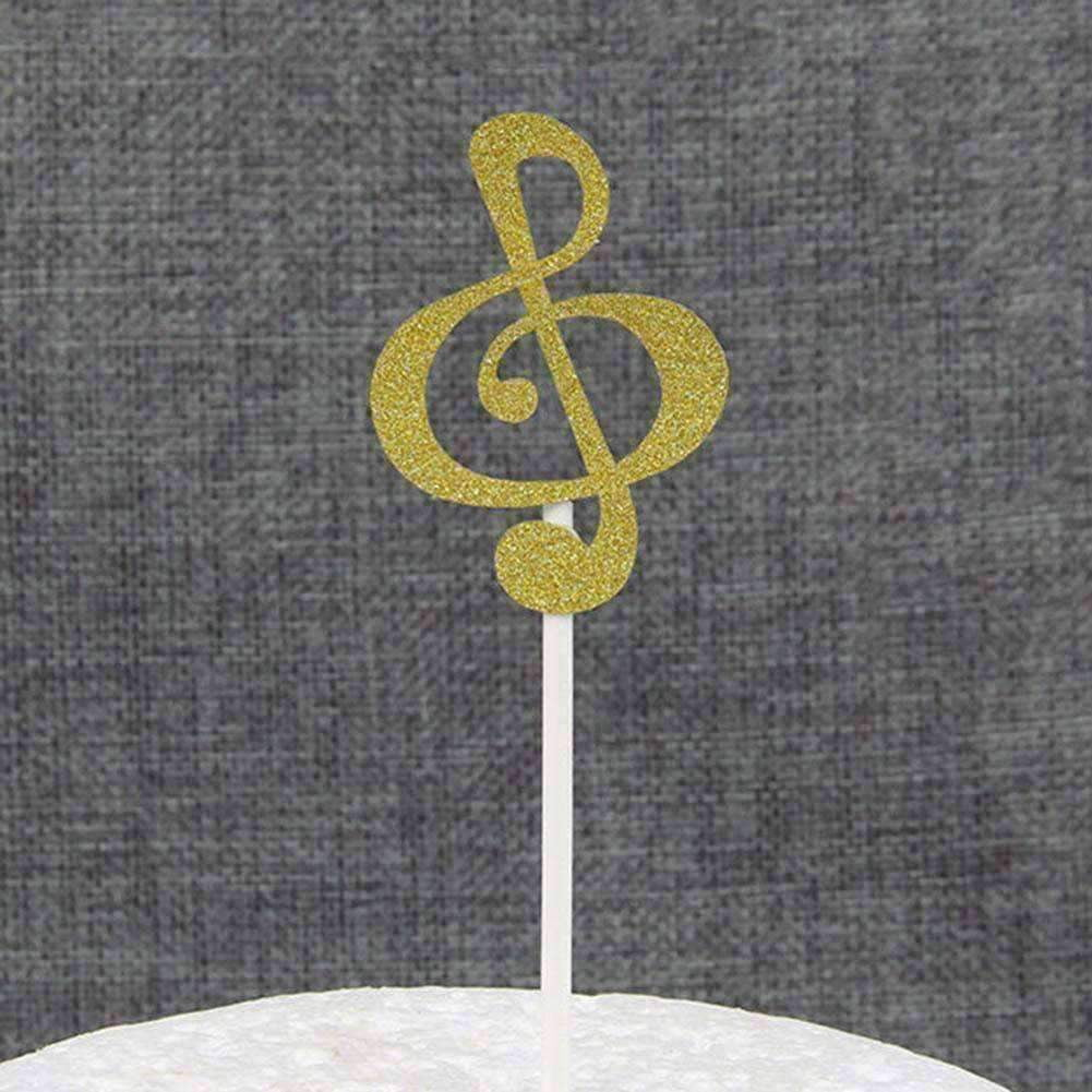 Music Notes Sticks for Cakes Cupcake Decorations - pack of 6 Music Gifts,For Teachers - Music Bumblebees