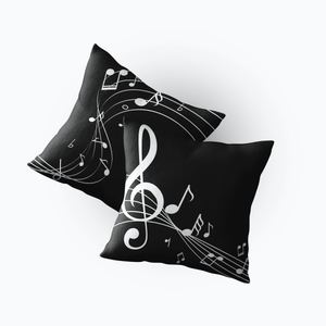 Music Bumblebees Music Gifts, Music Household Items, Music Aprons Music Themed Cushion Cover - Black and White