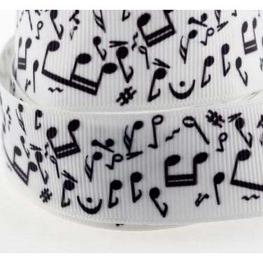 Music Bumblebees Music Gifts Music Notes Black and White Ribbon 5m