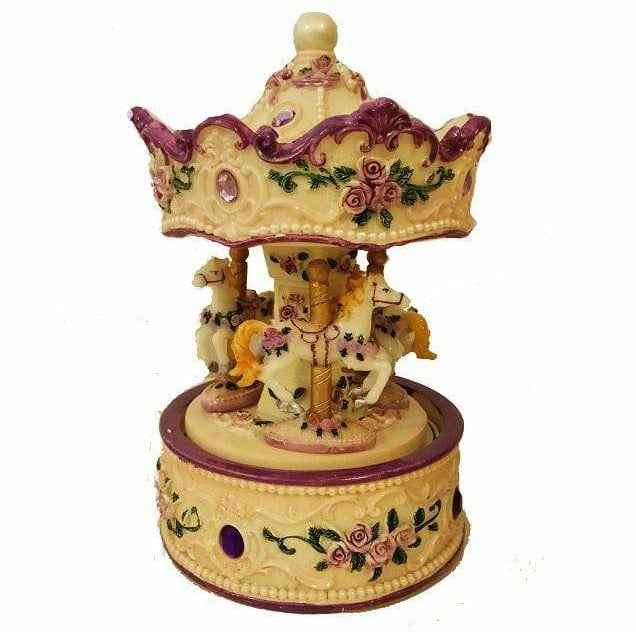 Music Bumblebees Music Gifts Purple and White Musical Carousel Merry-Go-Round