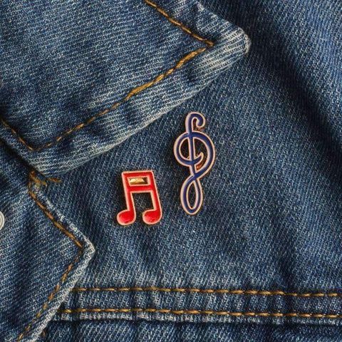 Image of Music Notes Brooch / Pin Set - Set of 2 - Music Gift Music Jewellery - Music Bumblebees
