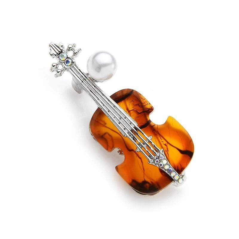Music Bumblebees Music Jewellery Violin Brooch / Pin with Crystal and Pearl
