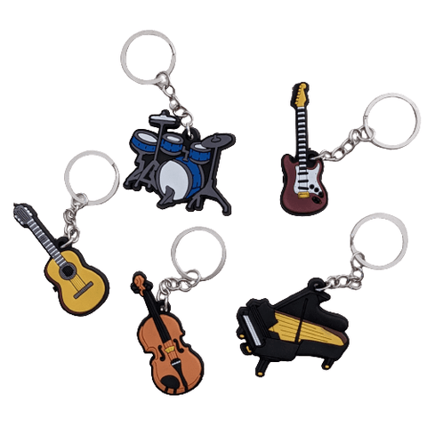 Image of Music Bumblebees Music Keyrings Music Instrument Keyring - Assorted Instruments