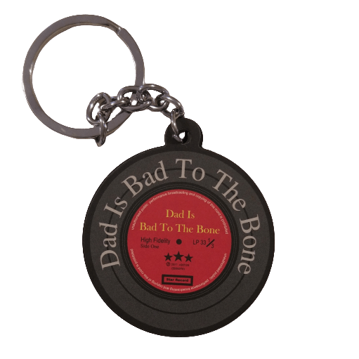 "Music Bumblebees Music Keyrings Vinyl Record Keyring - Favourite Dad ""Dad Is Bad To The Bone"""