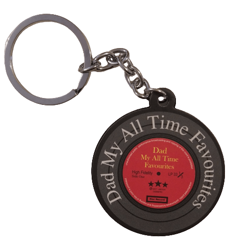 "Music Bumblebees Music Keyrings Vinyl Record Keyring - Favourite Dad ""Dad My All Time Favourites"""
