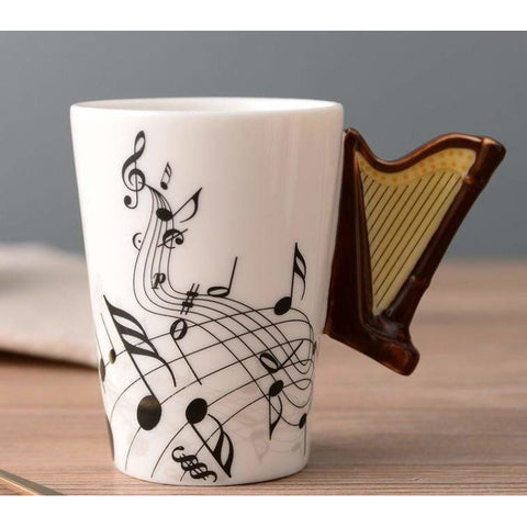Music Bumblebees Music Mug Music Themed Mug with Harp Handle