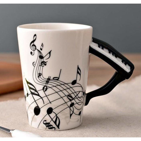 Image of Music Bumblebees Music Mug Music Themed Mug with Keyboard Handle