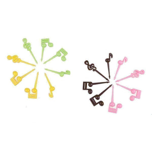 Music Themed Fruits Party Forks/Picks - Set of 16 with 4 colours music notes