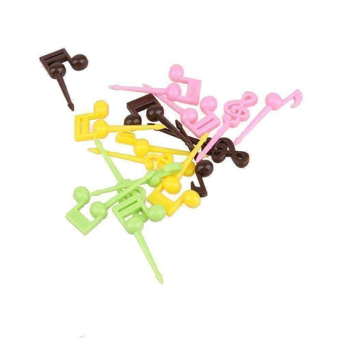 Image of Music Bumblebees Music Party Needs Music Themed Fruits Party Forks/Picks - Set of 16 with 4 colours music notes