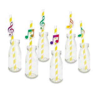 Music Bumblebees Music Party Needs Music Themed Paper Straws for Party - Pack of 24