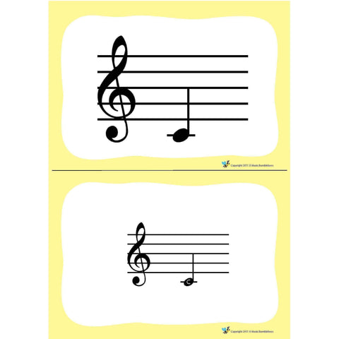 Music Bumblebees Music Publications Flash Cards Bass Clef Music Bumblebees Pitch Flashcards (Digital Download)