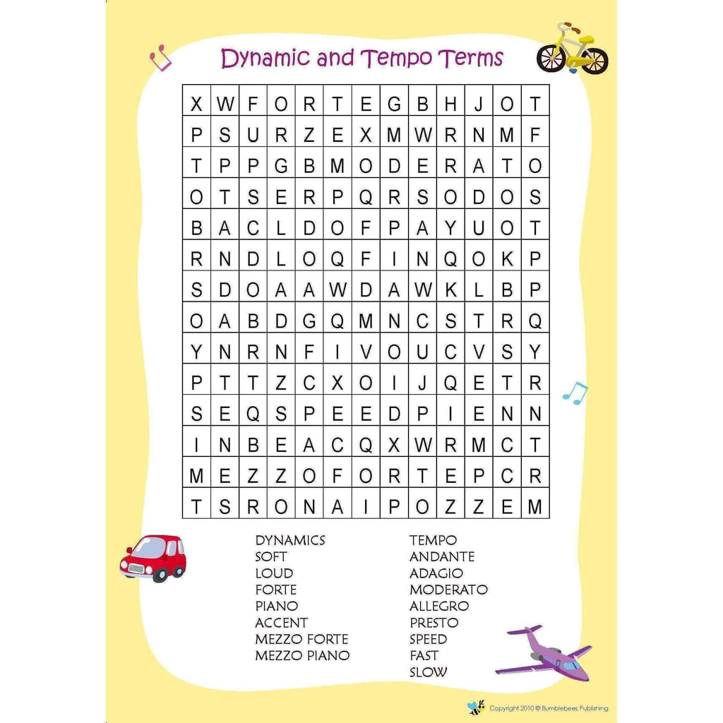 Music Bumblebees Word Search Worksheets (Digital Download)