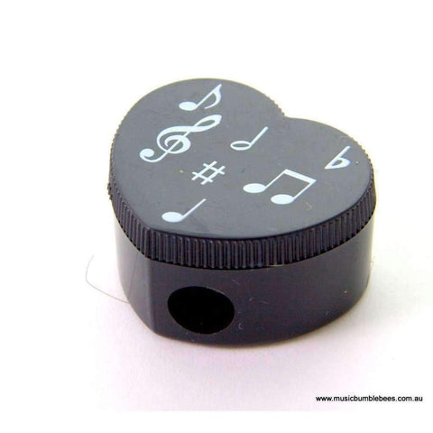 Image of Music Bumblebees Music Sharpener Black & White Heart Shape Pencil Sharpener - Keyboard