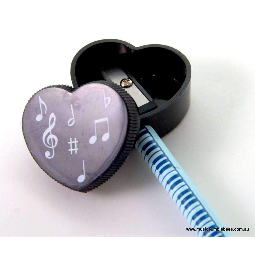 Music Bumblebees Music Sharpener Black & White Heart Shape Pencil Sharpener - Keyboard