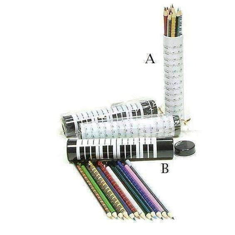 Image of 12 Music Themed Colour Pencils in Tubular Case - Assorted Designs