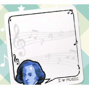 Image of Music Bumblebees Music Stationery Chopin Music Post-it Pad (30 Sheets) - Composers