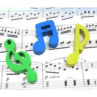 Music Bumblebees Music Stationery Music Notes Rubbers (Erasers) - Set of 3