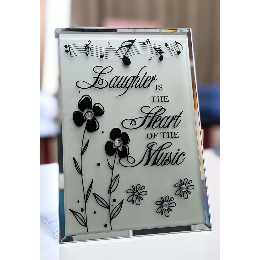Music Bumblebees Music Themed Plaque Glass Plaque - Laughter is the Heart of the Music