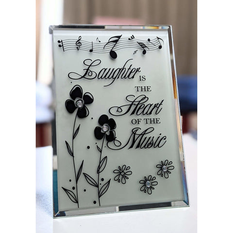 Image of Music Bumblebees Music Themed Plaque Glass Plaque - Laughter is the Heart of the Music