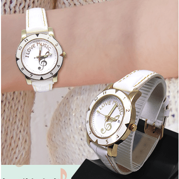 Music Bumblebees Music Watch Music Themed Watch with White Leather Strap and Treble Clef Design
