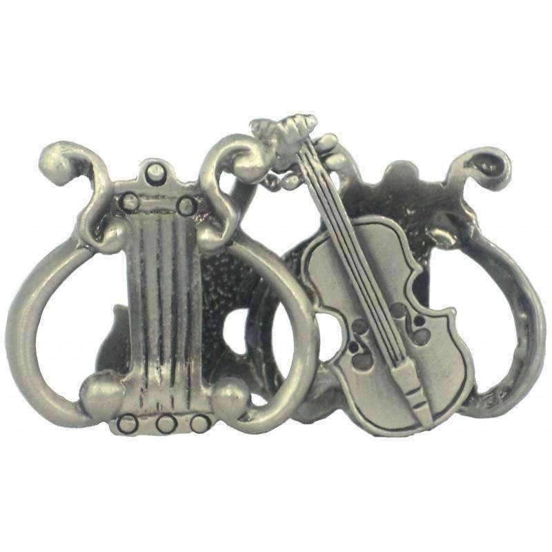 vendor-unknown Products,Music Gifts,For Teachers Pewter Violin and Lyre Business Card Holder