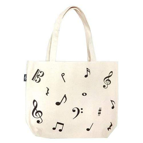 Image of Music Bumblebees Products,Music Gifts,Mother's Day Gifts,For Her White Canvas Tote Bag Music Notes Design