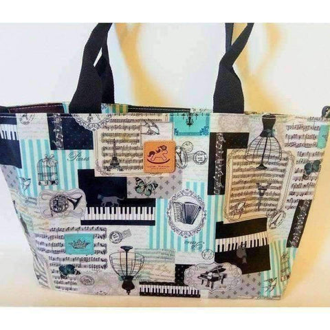 Image of Music Bumblebees Products,Music Gifts,Mother's Day Special,For Performers Blue Key Uma Hana Versatile Music Themed Horizontal A4 Shoulder Bag