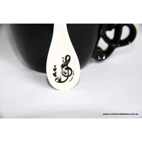Music Themed Mug with Spoon and Clef Handle - Black Products,Music Gifts,Mother's Day Special,Mother's Day Gifts - Music Bumblebees