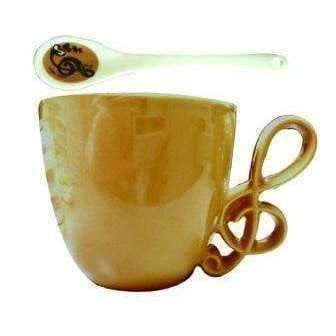vendor-unknown Products,Music Gifts,Mother's Day Special,Mother's Day Gifts Music Themed Mug with Spoon and G Clef Handle - Coffee