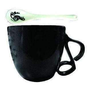 vendor-unknown Products,Music Gifts,Mother's Day Special,Mother's Day Gifts Music Themed Mug with Spoon and Quaver Handle - Black
