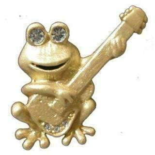 Music Bumblebees Products,Music Gifts,New Arrivals,Mother's Day Gifts,For Her Frog playing Guitar Golden Brooch / Pin