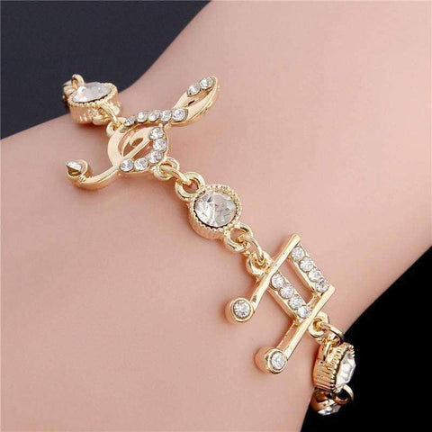 d938f4a3a Image of Ladies Bangle Bracelets with Music Notes Gold with Crystals ...