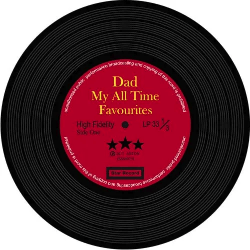Music Bumblebees Products,Music Gifts,New Arrivals Music Themed Record Coasters - All Time Favourite Dad