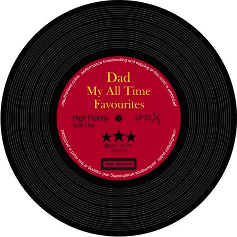 Image of Music Bumblebees Products,Music Gifts,New Arrivals Music Themed Record Coasters - All Time Favourite Dad