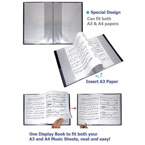 Image of A3&A4 Combined Clear Display Folder (20 pockets) - Music Notes & Keyboard Black