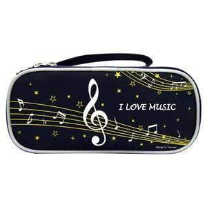 Music Bumblebees Products,Music Stationery,Music Gifts for Kids Black Music Notes Pencil Case - Dual Opening - Black or Pink