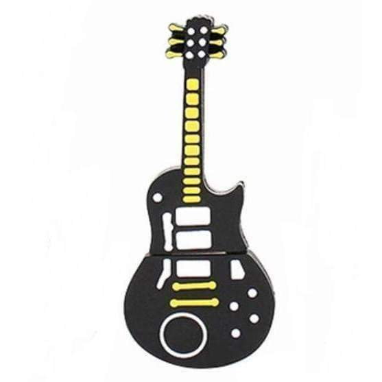 Music Themed USB Memory Stick - Black and Yellow Electric Guitar 16Gb