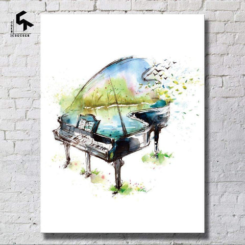 Image of Abstract Grand Piano Canvas Poster Wall Art Music Gift